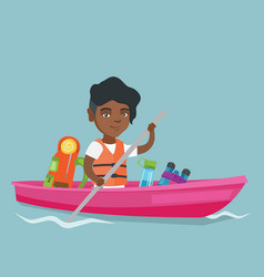 Young african-american woman riding a kayak vector