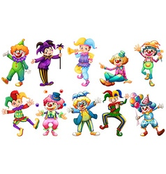 Clowns in different costumes vector image vector image