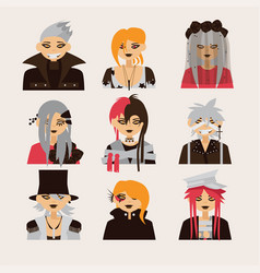 collection with lovely visual kei male vector image vector image