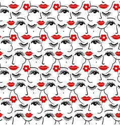 Face silhouette seamless pattern vector image vector image