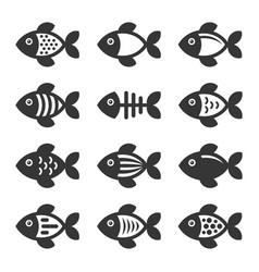 fish icons set on white background vector image