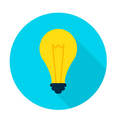 idea lamp flat circle icon vector image