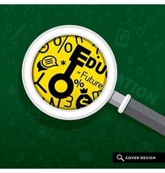 Magnifying glass on school board Education concept vector image