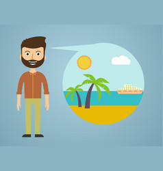 men dreaming about his vacation vector image