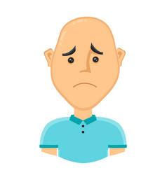 sad bald man without hair vector image vector image