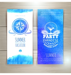 Set of blue watercolor summer banners vector image