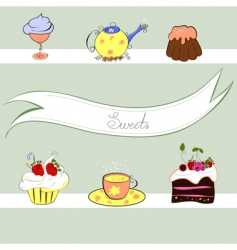 stylized background with sweets vector image vector image
