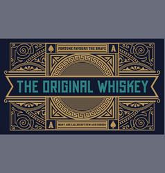 Whiskey label vintage logo western vector