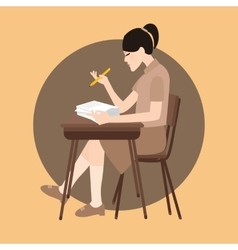 woman sitting study school class chair holding pen vector image vector image