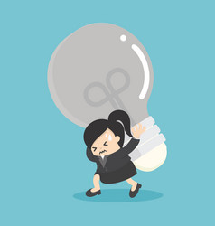 business woman carrying light bulbs with many vector image vector image