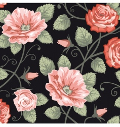 roses seamless background vector image vector image