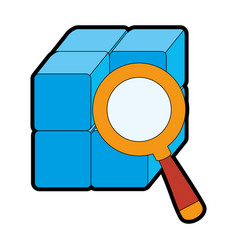 cube with blocks with magnifying glass vector image