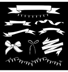 Set of hand drawn vintage ribbons and Christmas vector image vector image