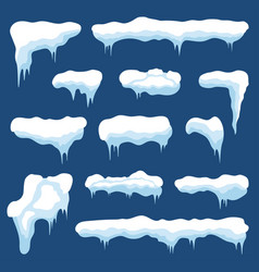 snow with icicles and snow drifts winter snow vector image vector image