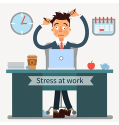 Stressed Man at Work Pulls His Hair with a Laptop vector image