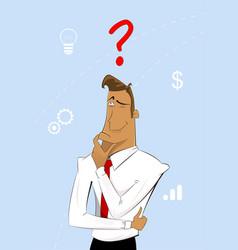 thinking cartoon businessman vector image vector image