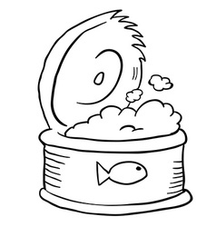 black and white freehand drawn cartoon can of tuna vector image