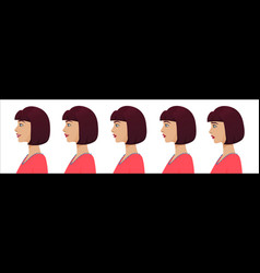 female profile avatar expressions set woman vector image vector image