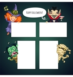 Set of Cartoon Halloween Characters Behind a White vector image
