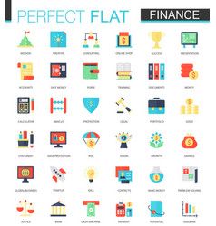 set of flat finance icons vector image