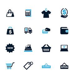shop icons set vector image