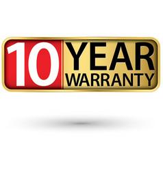 10 year warranty golden label vector