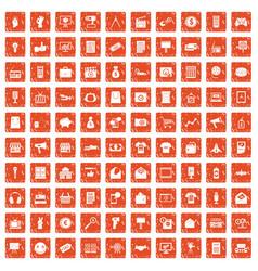 100 marketing icons set grunge orange vector
