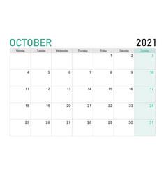 2021 october desk calendar in green white theme vector