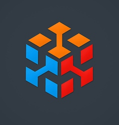 3D cube data abstract logo vector image