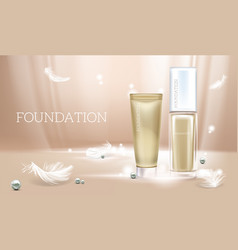 3d realistic beige concealer foundation vector