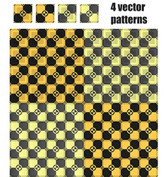 4 circle-square patterns set Black vector