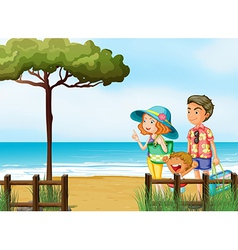 A family at the beach vector