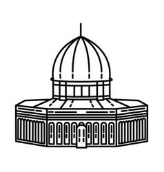 Al aqsa mosque icon doodle hand drawn or outline vector