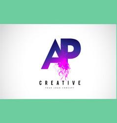Ap a p purple letter logo design with liquid vector