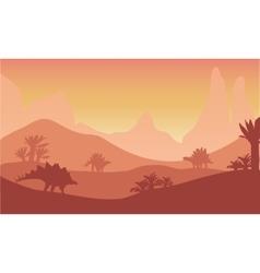At sunset silhouette of stegosaurus vector image