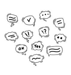 black speech bubble line icons hand drawn doodle vector image