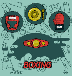 Boxing flat concept icons vector