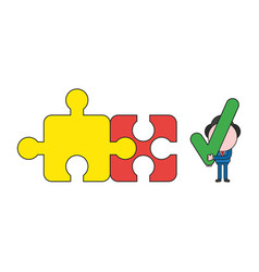 Businessman character with two connected jigsaw vector