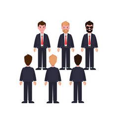 businessmen in classic suits and ties characters vector image