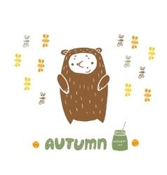 Card Bear in Autumn vector
