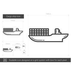 Cargo ship line icon vector