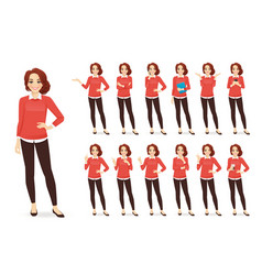 casual business woman character set vector image