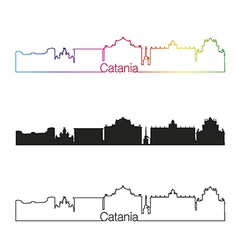 Catania skyline linear style with rainbow vector image