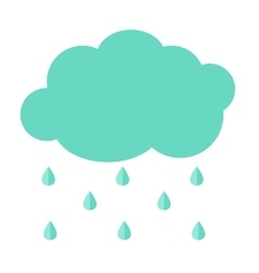 Cloud Flat Icon with Rain Drops Simple vector