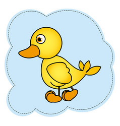 Cloud frame with yellow duck side view animal icon vector