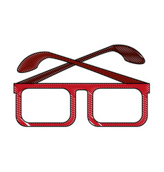 Color blurred stripe of glasses with red contour vector