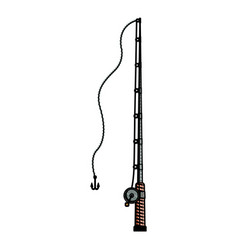 Colored pencil silhouette of fishing rod with vector