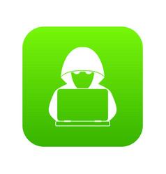 Computer hacker with laptop icon digital green vector