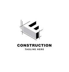 construction logo design with letter f shape icon vector image
