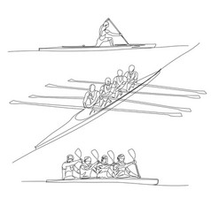 Continuous one line rowing or crew sport set vector